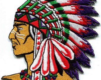 Native American Indian chief ethnic retro biker applique iron-on patch Size S