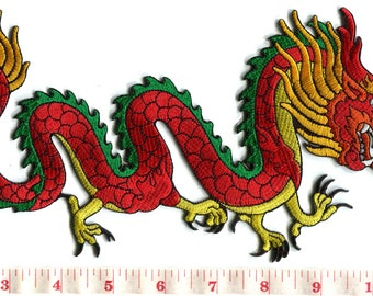 3a1fe9bc0 Chinese red dragon kung fu tattoo embroidered applique iron-on patch LARGE  XL 5 X 10 inches S-1276