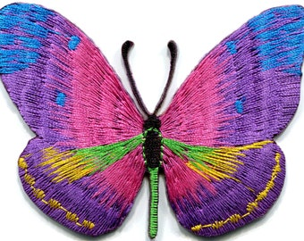 9e2b2ef1bb3f Butterfly hippie retro boho love peace pink purple blue diy embroidered  applique iron-on patch G-95
