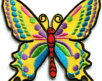 533144d3ae8b Butterfly hippie retro boho love peace yellow diy embroidered applique  iron-on patch G-25