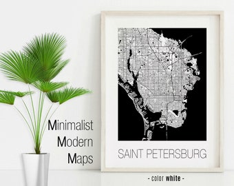 St Petersburg Florida Map.St Petersburg Etsy