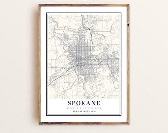 Spokane city map print Personalized artwork map gifts watercolor painting print of Washington WA USA map wall art decor framed poster