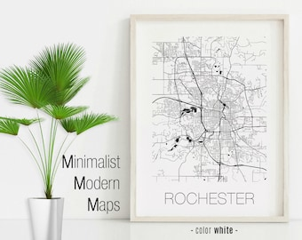 Rochester Mn Map Etsy
