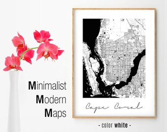 Cape Coral Florida Map.Cape Coral Fl Etsy