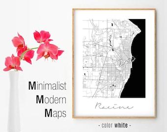 Racine Wisconsin Map.Racine Wi Map Etsy