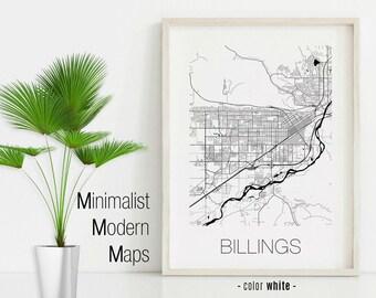 Billings mt map | Etsy
