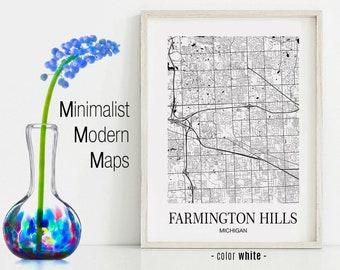 Farmington Hills Michigan Map.Farmington Hills Mi Etsy