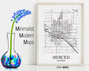 Merced Map Poster Etsy