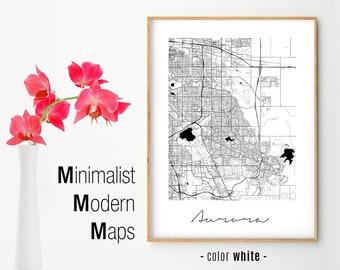 Aurora co map art | Etsy