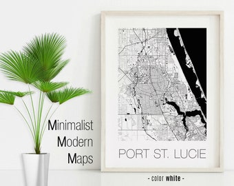 St Lucie Florida Map.Port St Lucie Fl Etsy