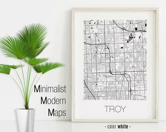 Custom Personalized map Troy Michigan Map Print Troy gift Troy Square Map Poster Troy Wall Art