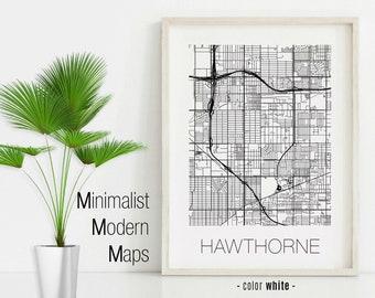 Hawthorne California Map.Hawthorne Ca Etsy