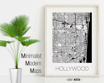 Map Of Hollywood Florida.Hollywood Map Etsy