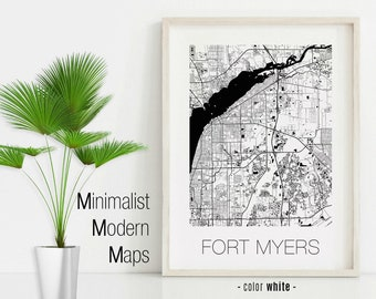 Florida Map Fort Myers.Map Of Fort Myers Etsy