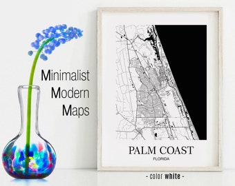 Palm Coast Florida Map.Palm Coast Fl Poster Etsy