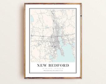 Massachusetts Travel New Bedford Map Art Office Decor Home Decor Map Gift Graduation Gift Street Map Black and White Print