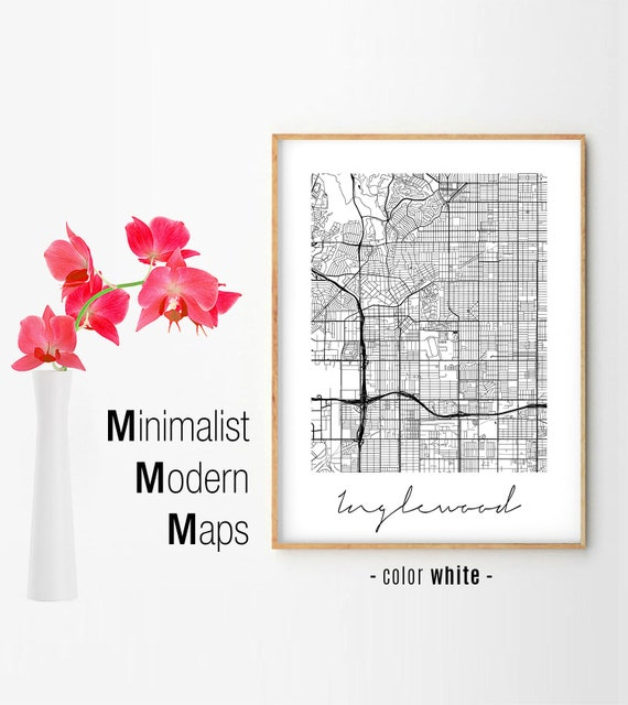 Inglewood, Minimalist Inglewood Map, Inglewood Map Print, Inglewood City  Map, Modern Map Poster, Inglewood CA Map, Inglewood California