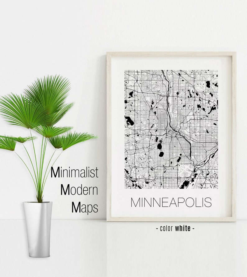 Minneapolis Minnesota, Minneapolis MN map, Minneapolis map, Minneapolis  print, Minneapolis poster, Minneapolis wall art, Black and White Map