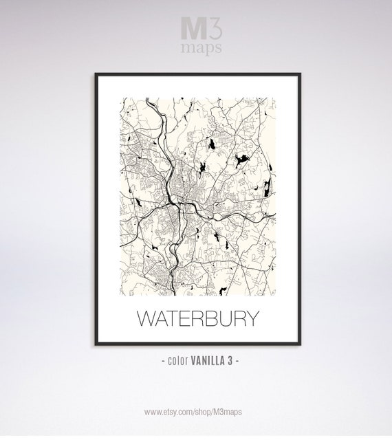 Waterbury Connecticut, Waterbury CT map, Waterbury map, Waterbury print,  Waterbury poster, Waterbury wall art, Black and White Map