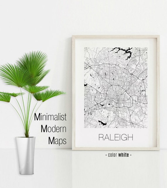 Raleigh North Carolina, Raleigh NC map, Raleigh map, Raleigh print, Raleigh  poster, Raleigh wall art, Black and White Map
