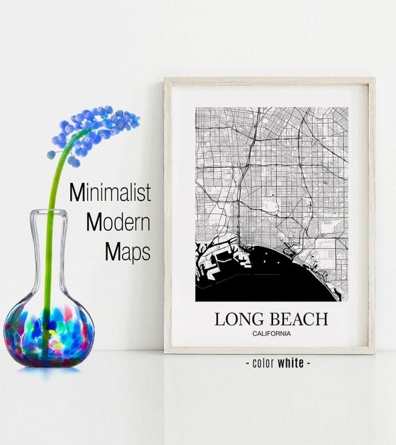 Long Beach, Long Beach CA map, Long Beach modern art print, Long Beach Wall  Art Map, Long Beach contemporary art, Modern Home Decor