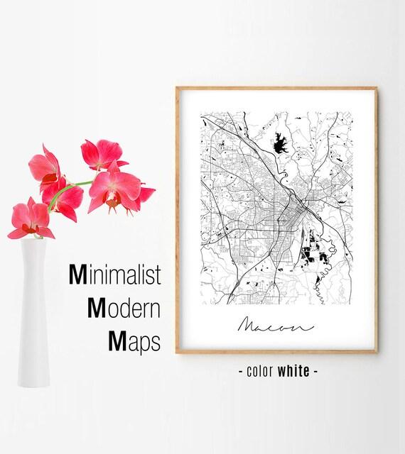 Macon Minimalist Macon Map Macon Map Print Macon City Map Etsy