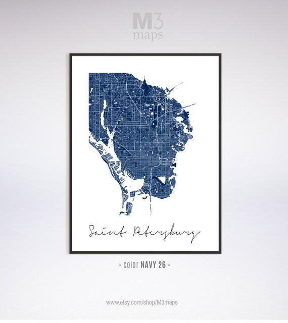 Map Of St Petersburg Florida.St Petersburg Minimalist Saint Petersburg Map St Etsy