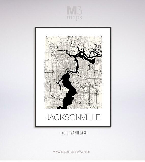 Jacksonville Florida, Jacksonville FL map, Jacksonville map, Jacksonville  print, Jacksonville poster, Jacksonville wall art, Black and White