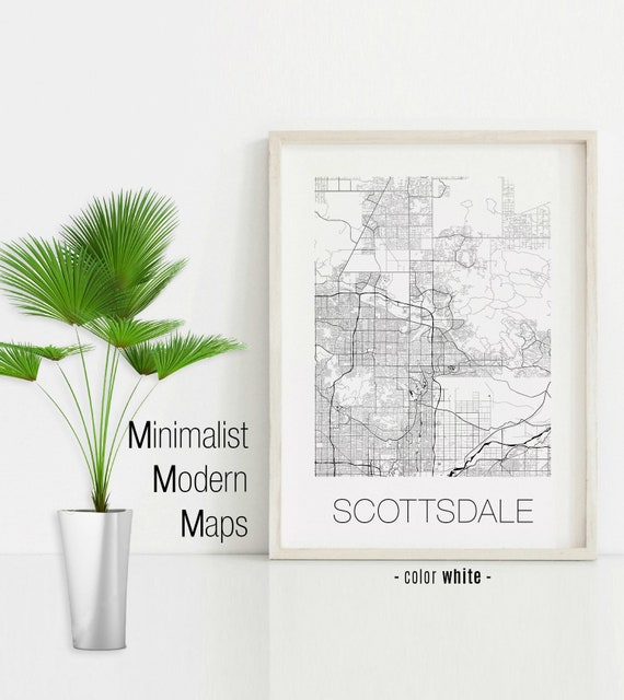 Scottsdale Arizona, Scottsdale AZ map, Scottsdale map, Scottsdale print,  Scottsdale poster, Scottsdale wall art, Black and White Map