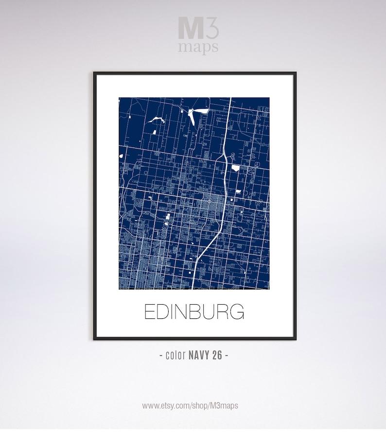 Edinburg Texas Edinburg poster Edinburg wall art Black and White Map Edinburg map Edinburg TX map Edinburg print