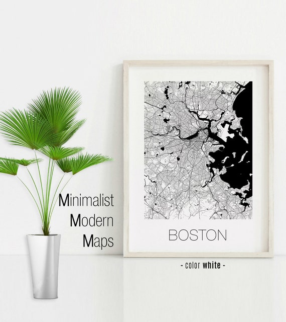 Boston Massachusetts Boston Ma Map Boston Map Boston Print Etsy