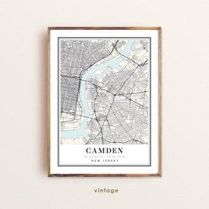 Personalized Wedding Map Art Gift For Couple Custom city map Camden City Print Camden Poster Camden New Jersey Map