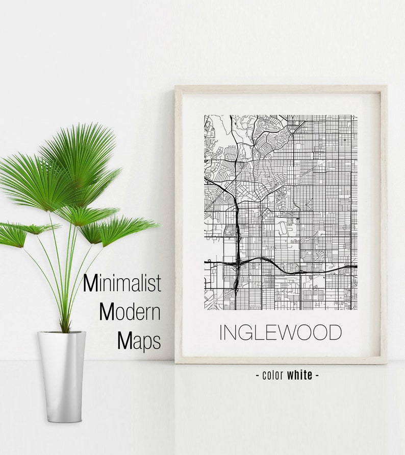 Inglewood California, Inglewood CA map, Inglewood map, Inglewood print,  Inglewood poster, Inglewood wall art, Black and White Map