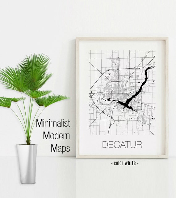 Decatur Illinois Map.Decatur Illinois Decatur Il Map Decatur Map Decatur Print Etsy