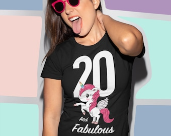 20th Birthday Unicorn T Shirt Great Gift For 19 Year Olds