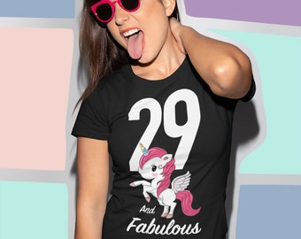 29th Birthday Unicorn T Shirt Great Gift For 29 Year Olds