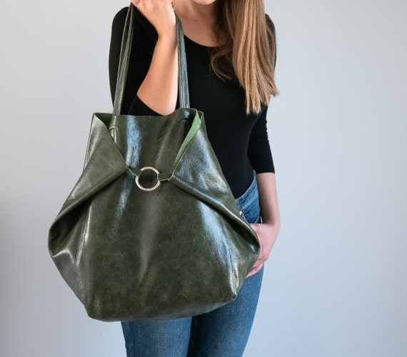 Dark GREEN OVERSIZE SHOPPER Bag Green Leather Shoulder Bag | Etsy