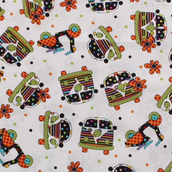 0048806513db8 Colorful Cars Fabric, Vespa Fabric, Baby Fabric, Kid Fabric, White Fabric,  Cotton Quilting Fabric , Sewing By The Yard AOF2215
