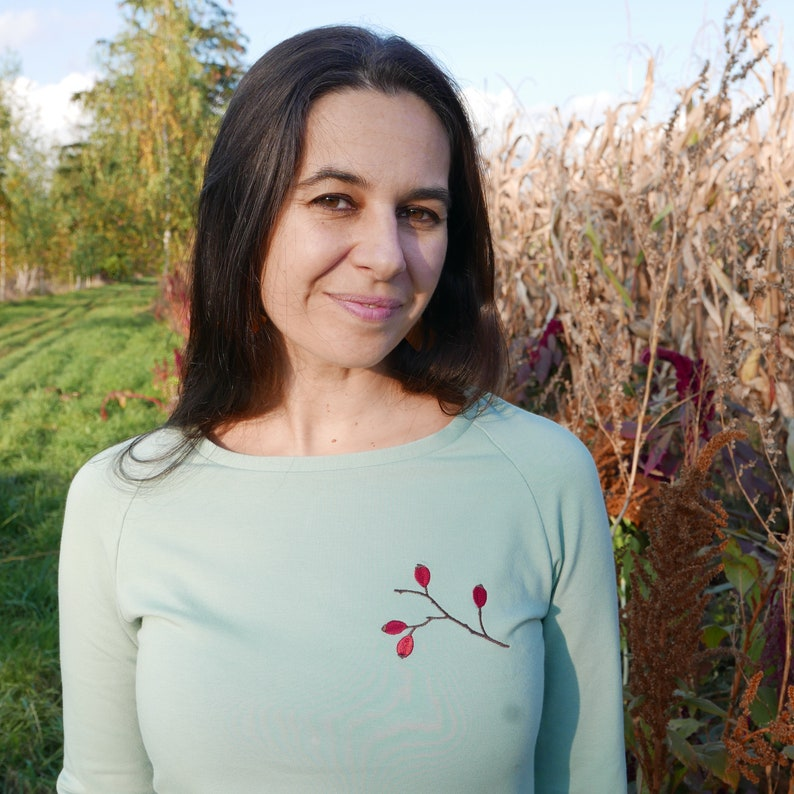 sweatshirt with wild rose hips Sweatshirt with embroidery woman jumper jumper with embroidery feminine sweatshirt