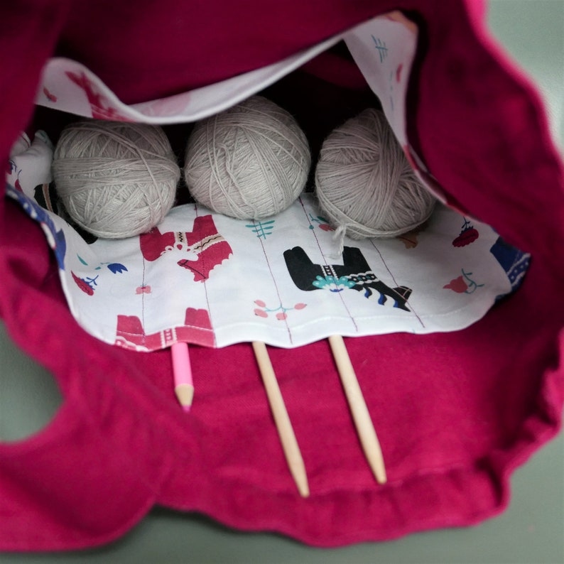 2 Handle Knitting Crochet Project Bag RED Canvas Drawstring Bag