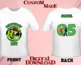 Ben 10 Iron On Transfer Birthday Shirt DIY Front Back Design Digital Files