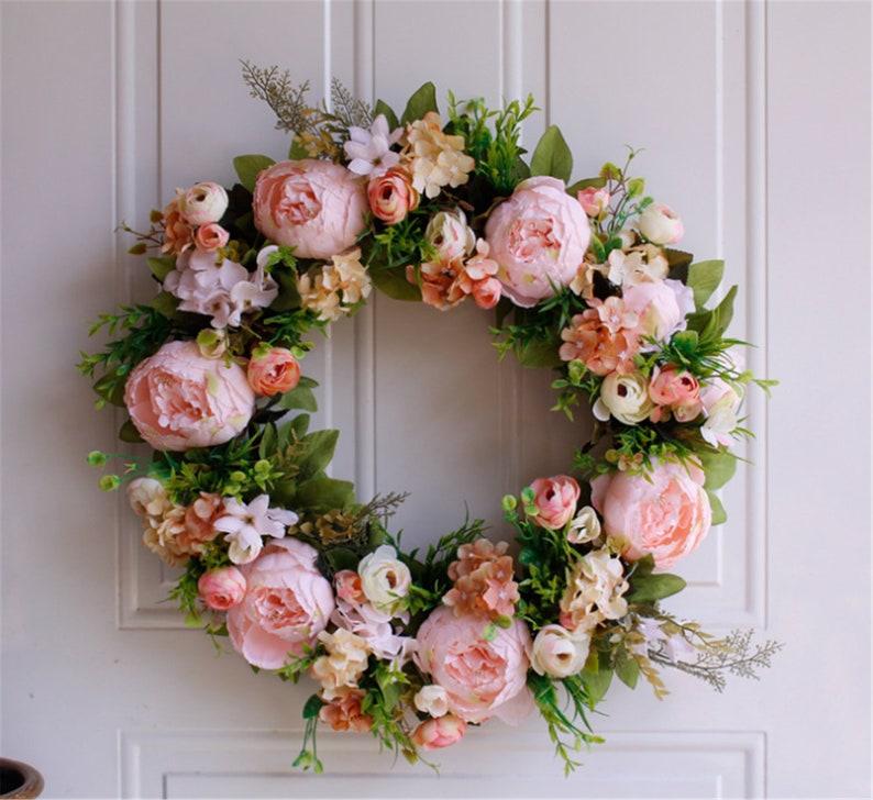 Rose Wreath,Wreath for Front Door,Silk Flower Wreath,Everyday Wreath,Wreath for Decor,Floral Wreath,Handcrafted Wreath