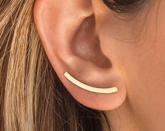 Earring Findings Ear Cuff 304 Shiny Vermeil Gold Ear Climber Earrings- 22k gold plated Sterling Silver Ear Crawlers Curved Bar Earrings