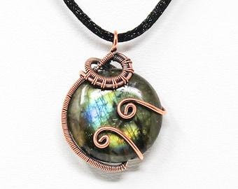 Labradorite Copper Wire Wrapped Pendant - Antiqued Copper Wire Wrapped Gemstone Pendant - Flashy Labradorite Copper Pendant