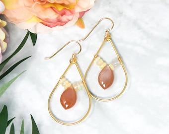 Gold Moonstone and Opal Dangle Earrings - 14kt Gold Fill Peach Moonstone and Ethiopian Opal Dangle Earrings
