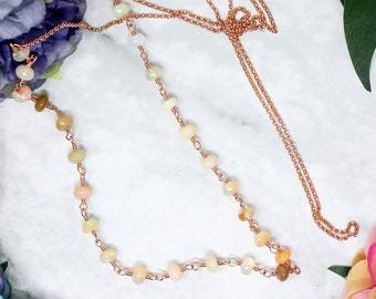 """Rose Gold Ethiopian Opal Infinity Necklace - Wirewrapped Opal Necklace - Luxury Opal Necklace - 34"""" Rope Necklace - Opera Necklace"""