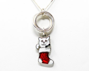 Sterling Silver Christmas Cat Charm Necklace - Cat in Christmas Stocking Pendant Necklace - Holiday Charm Pendant Necklace