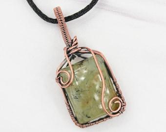 Prehnite Copper Wirewrapped Pendant - Unique Prehnite Boho Crystal Wirewrapped Pendant - Copper Wirewrapped Pendant - 7th Anniversary Gift