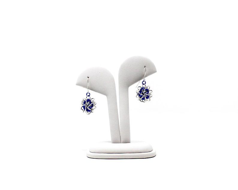 Japanese Ball Drop Earrings Mixed Metal Chainmaille Drop Earrings Blue Niobium Sterling Silver Earrings
