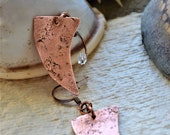 Prehistories Collection - Hammered copper earrings. copper tooth